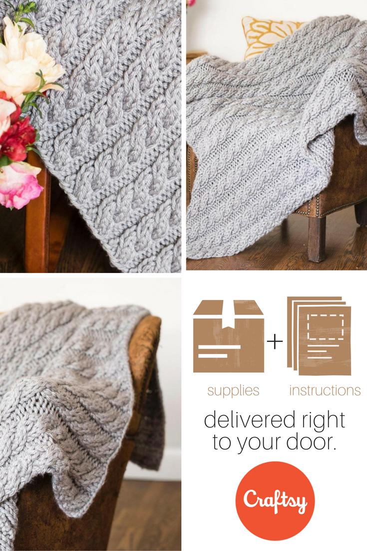 Cabled Blanket Knitting Kit   Frazada, Patrón de ganchillo y Ganchillo