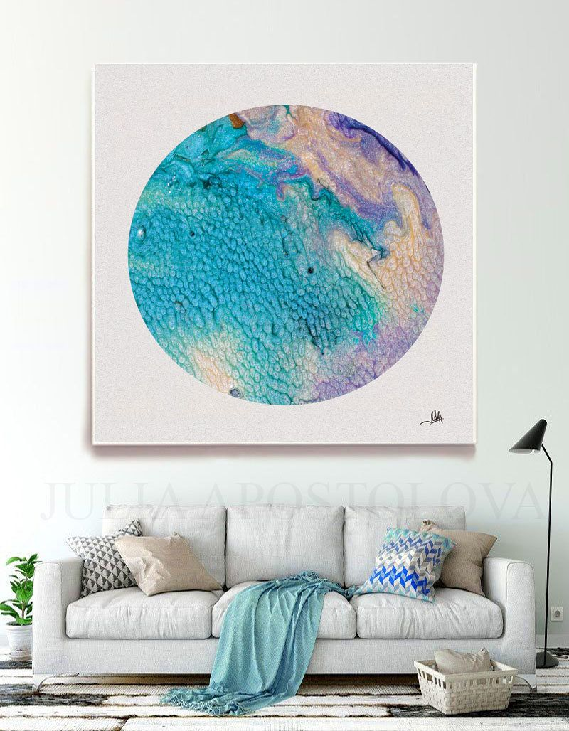 Beach decor wall art modern abstract art print minimalist - 45 Inch Tropical Thoughts Circle Canvas Print Turquoise Wall Art Beach House Decor Circle Painting Abstract Art Prints Coastal