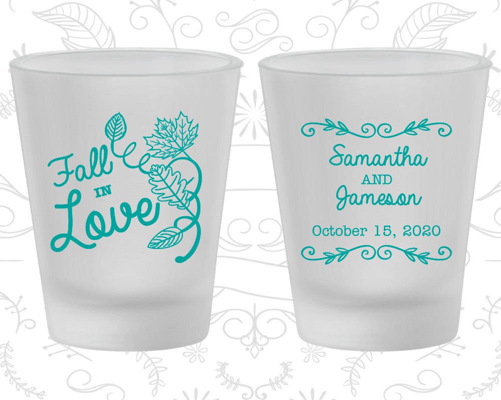 Fall in Love, Promotional Frosted Glasses, Fall in Love Wedding ...
