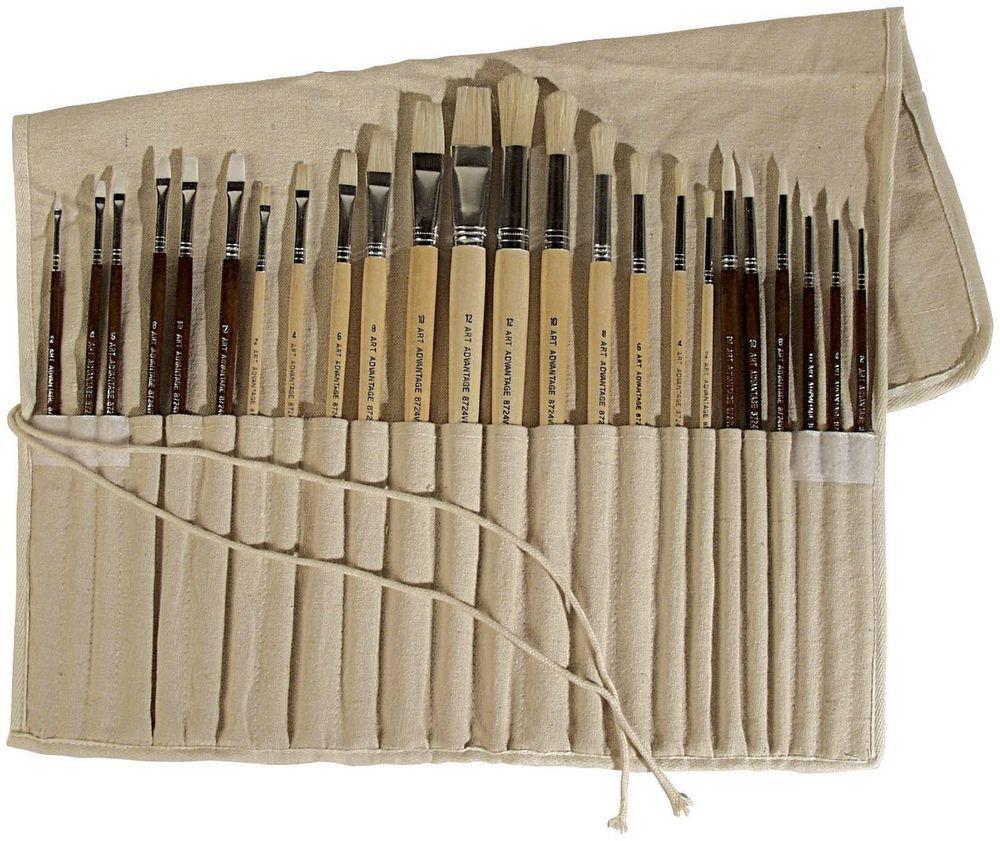 Paint Brush Set 24 Piece Artist Oil Acrylic Natural Synthetic Bristle New Fs Artadvantage Acrylic Brushes Artist Brush Paint Brushes
