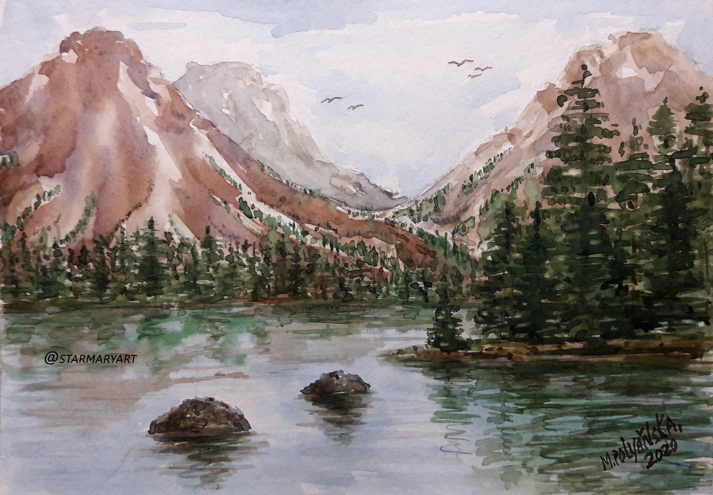 Rocky Mountain Painting Original Art National Park Mountain Landscape Watercolor Small Artwork Painting Art Snow Mountain Landscape Wall Art In 2020 Landscape Wall Art Mountain Paintings Mountain Landscape