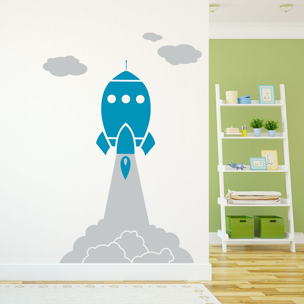 Let your childu0027s imagination sore with this Rocket Launch Through Clouds Wall Decal! #RocketShip  sc 1 st  Pinterest & Rocket Launch Through Clouds Wall Decal | Wall decals Children s ...