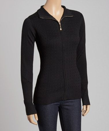 Allie & Rob Black Cable-Knit Zip-Up Sweater | Cable knitting ...