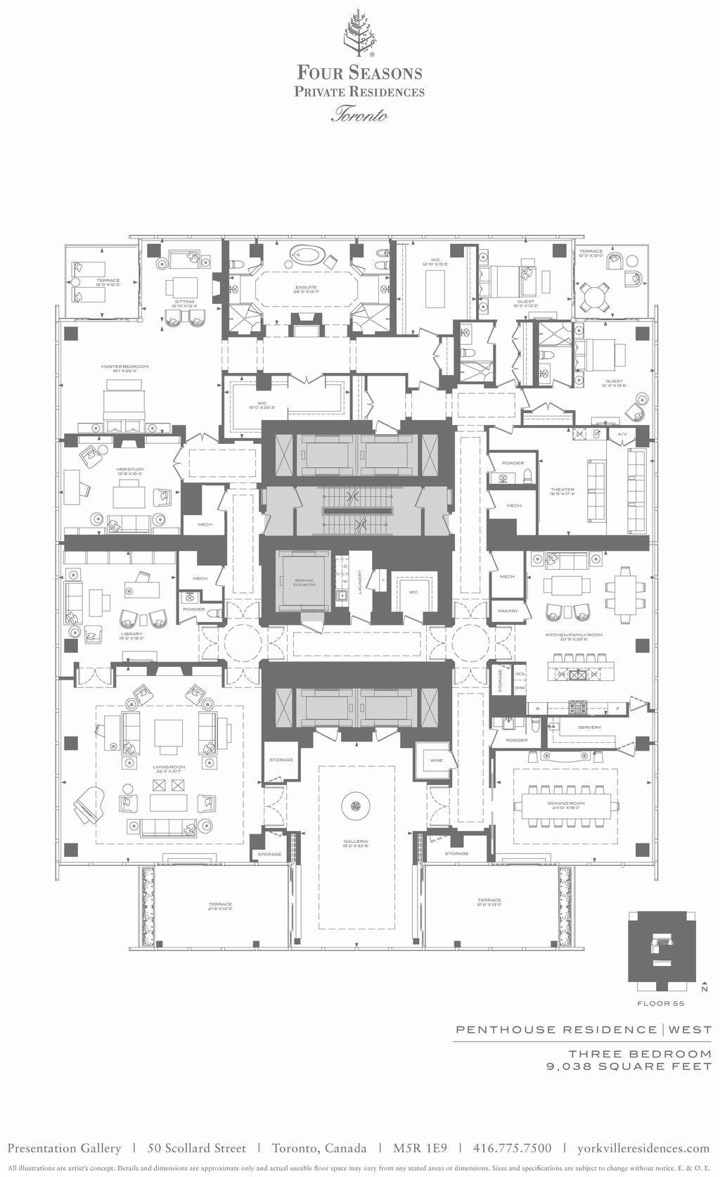 9 000 Square Foot Apartment Residence Main Floor Plan Four Seasons Toronto Penthouse Hotel Floor Plan Apartment Floor Plans Hotel Floor