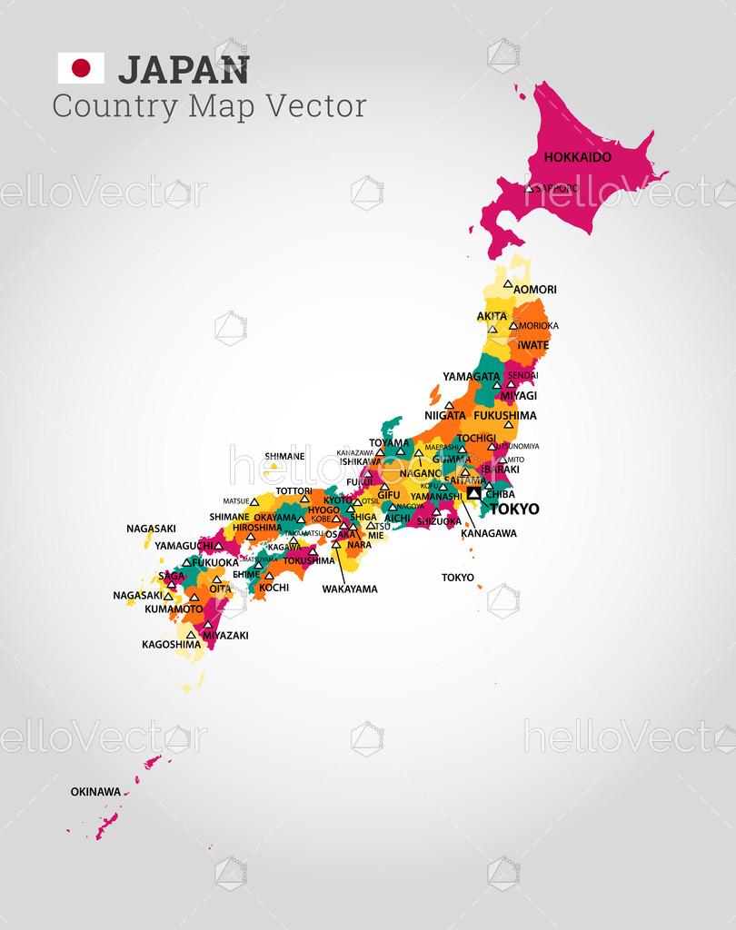 Detailed Map Of Japan Vector Illustration Download Graphics Vectors Vector Illustration Detailed Map Graphic Illustration