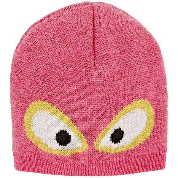 55a566bc938 Fendi Monster Eyes Virgin Wool Hat ( 180) ❤ liked on Polyvore featuring pink