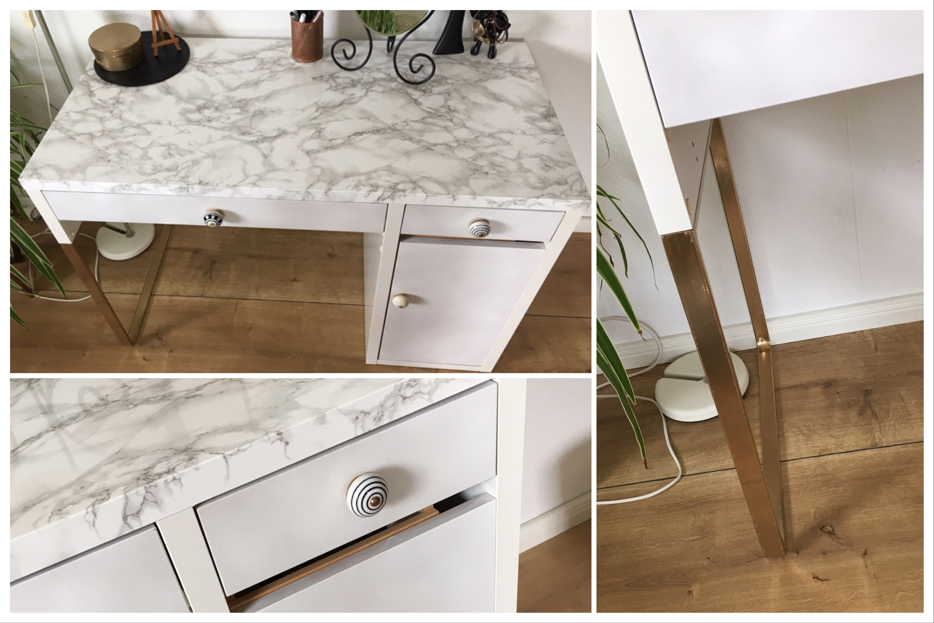 schreibtisch desk micke ikea hack marble marmor mit gold vanities rh pinterest com