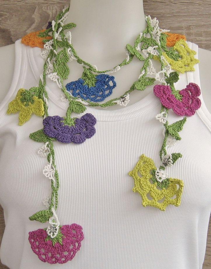 Oyalı Uzun Fular Kolye | zet.com | knitting | Pinterest | Collares ...