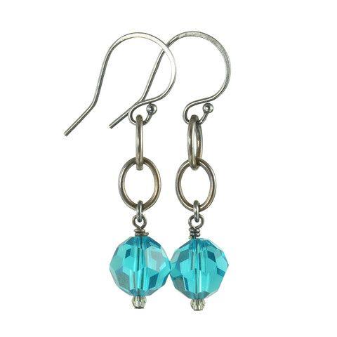 Queen of Hearts Swarovski crystal blackened earrings in Dazzling Blue