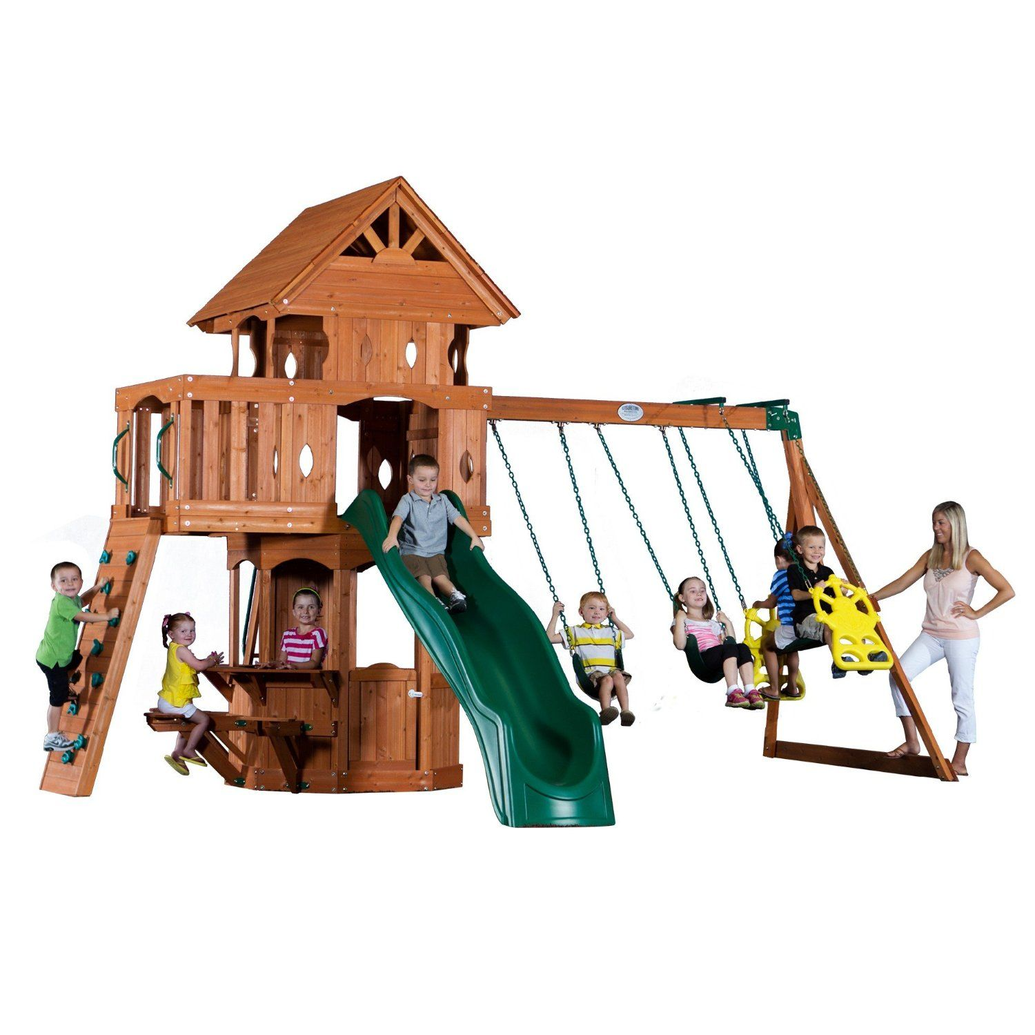 Amazon.com: Backyard Discovery Woodland All Cedar Wood Playset Swing ...