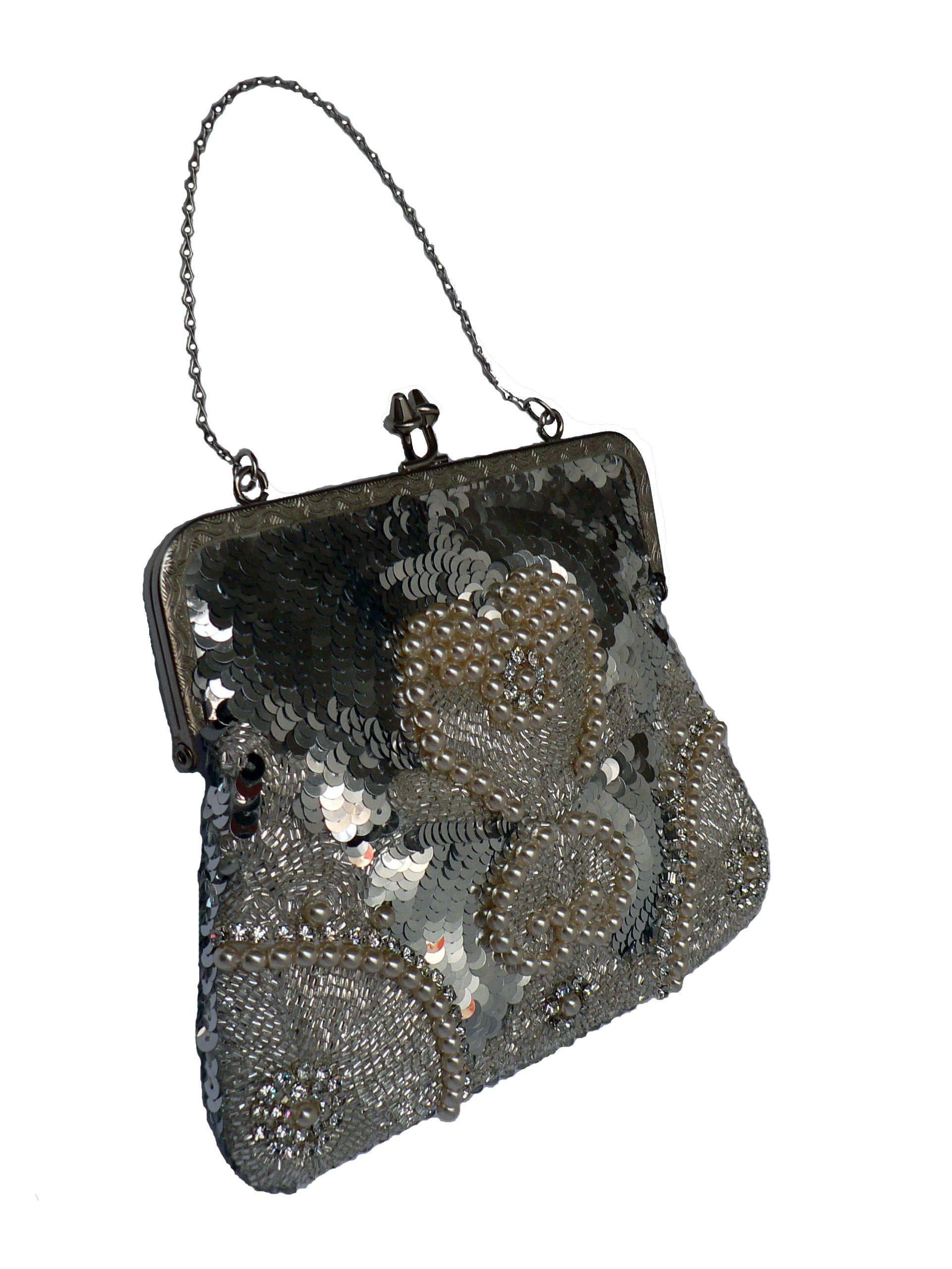 Cartera con cristales, piedras, perlas, lentejuelas y
