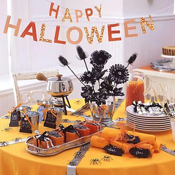 Table decorated for Halloween.