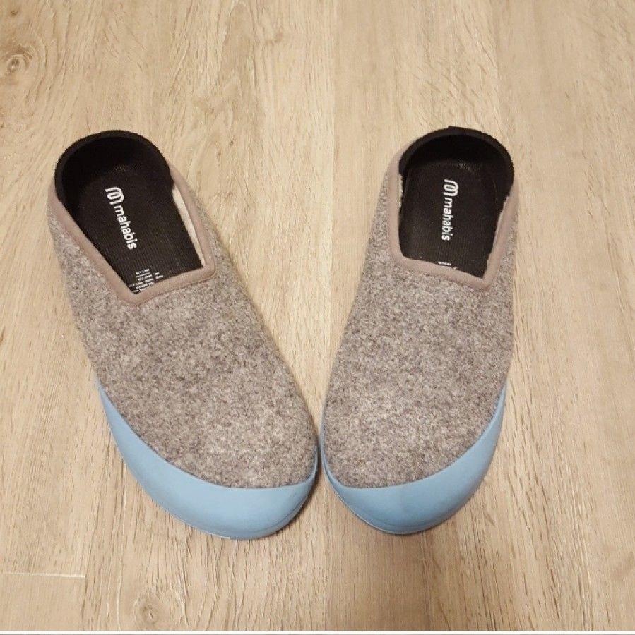 e17a6fd8313 MAHABIS Womens Wool Slippers Gray EU 39 Detachable Light Blue Soles   fashion  clothing
