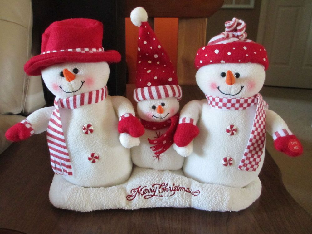 Details About Plush Singing Dancing Animated Snowmen Family Trio