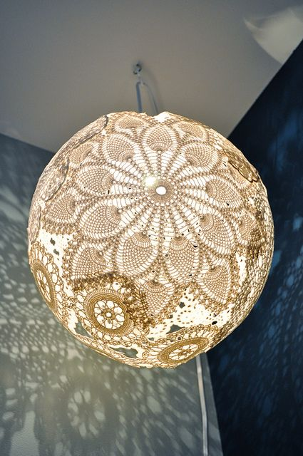 Handmade doily light by emmmylizzzy, via Flickr