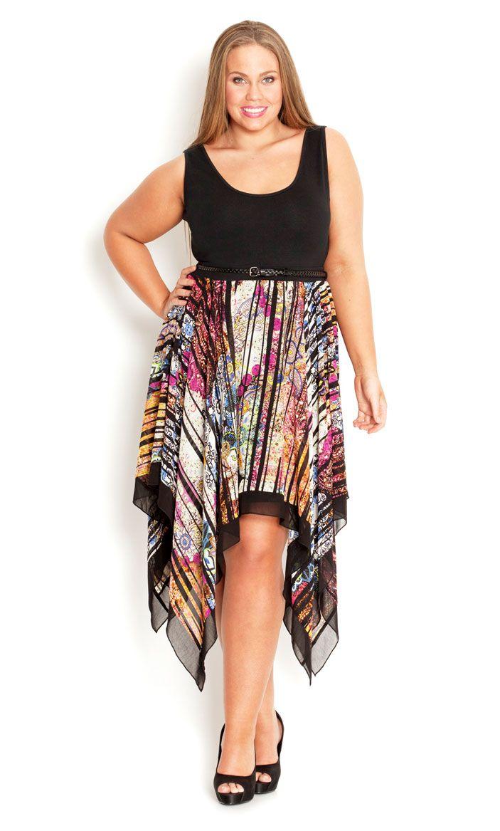 City Chic Mosaic Handkerchief Dress Womens Plus Size Fashion