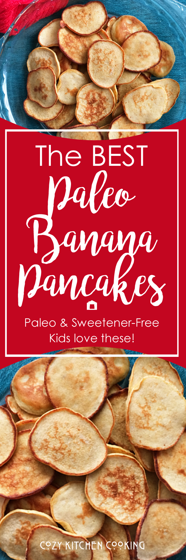 These Paleo Banana Pancakes are light & fluffy with lots of sweetness from banana. They are easy to make and kids LOVE these! Paleo, sugar-free, grain-free