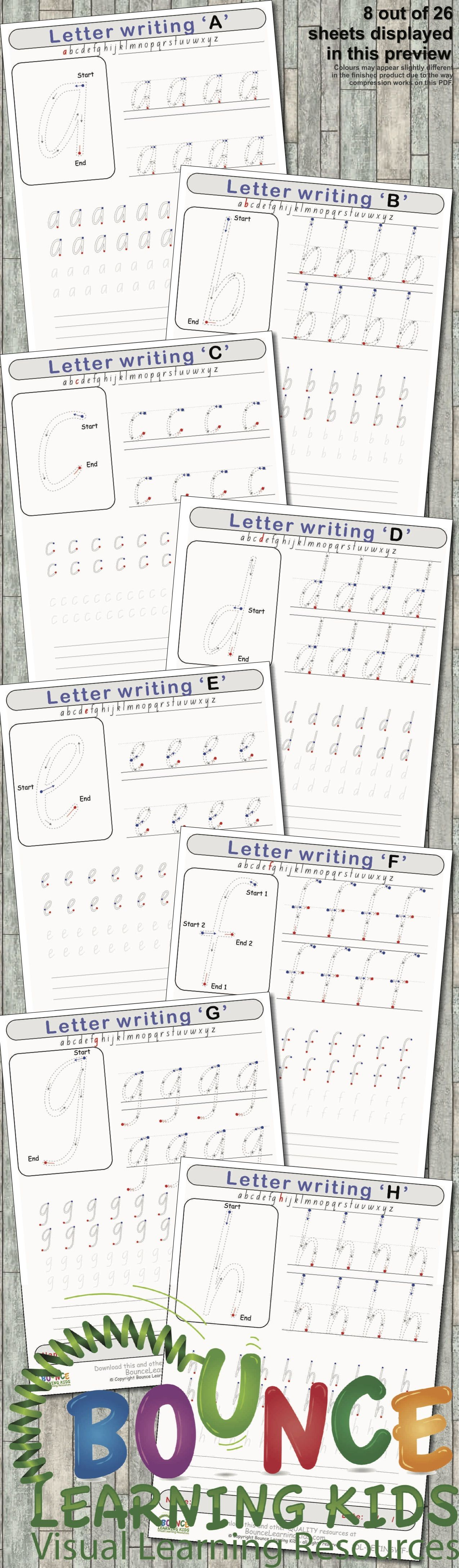 Letter Writing 26 Literacy Amp Hand Eye Coordination Sheets
