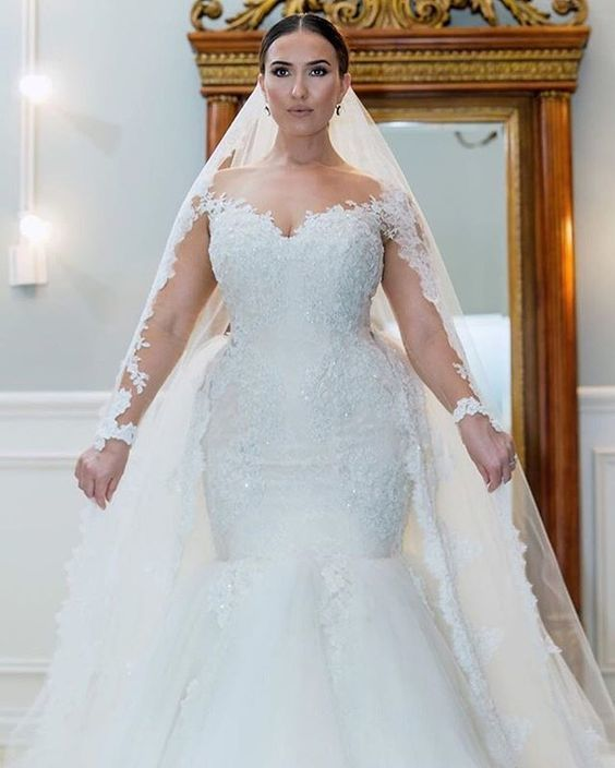 Plus Size White Appliques Tulle Mermaid Wedding Dresses, Long Sleeve Bridal Dress is part of Wedding dresses - UPS then you need to use this one too  if you have any question please contact me freely !