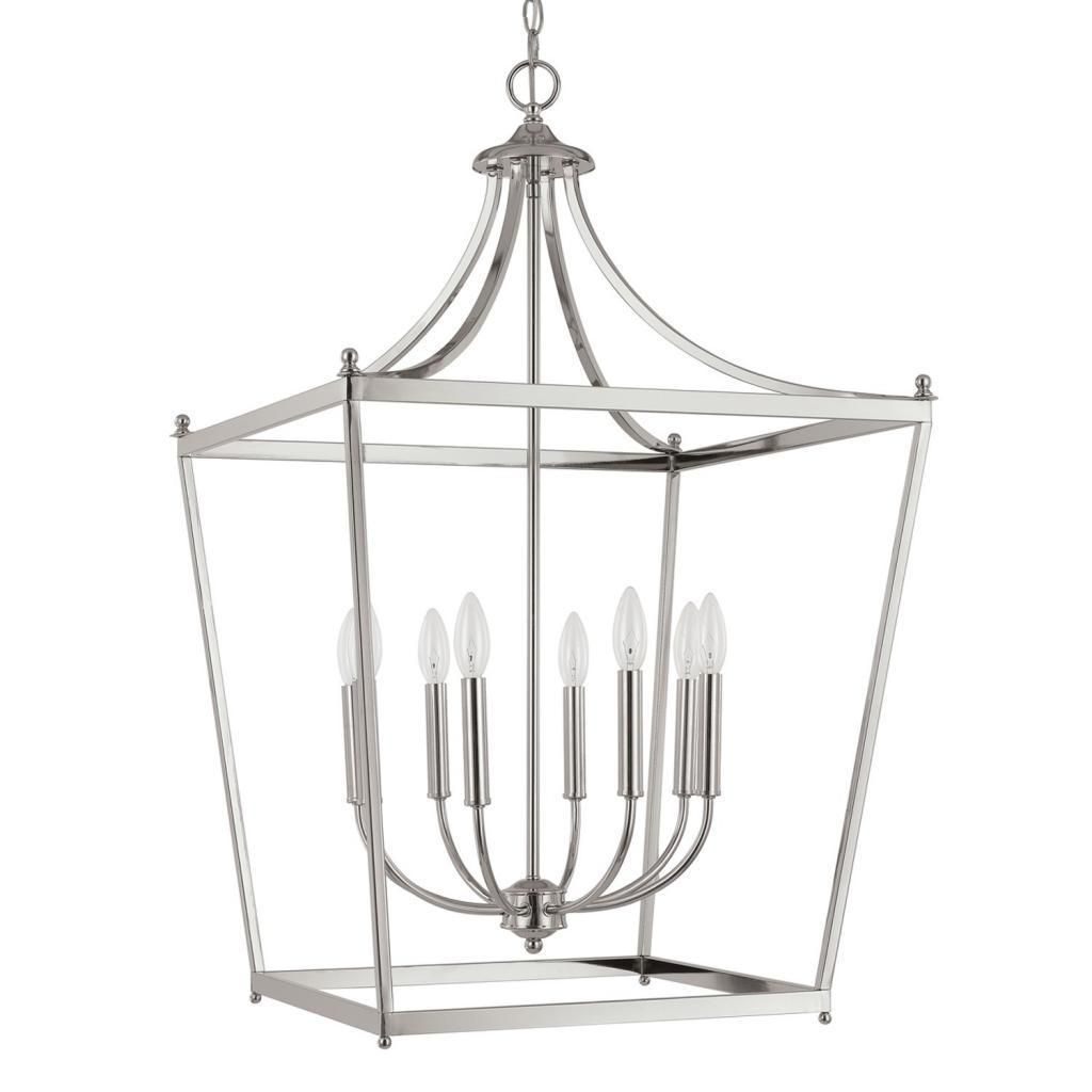 This Stanton 8-light foyer pendant features a polished nickel finish that will complement many decors. The simple, yet sophisticated design provides a stylish accent to your home.