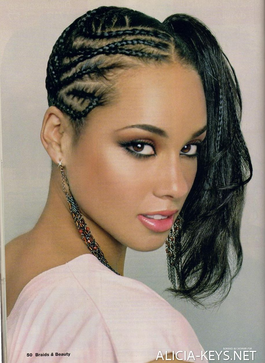 Alicia Keys Hairstyles Canerow Side Ponytail Braids For Black Hair Cool Braid Hairstyles Hair Styles