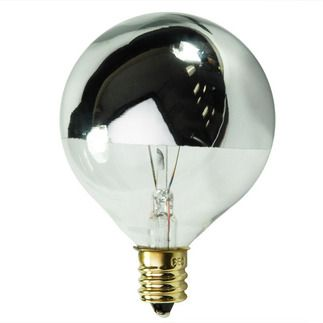 Bulbrite 712312 25w G16 5 Globe Silver Bowl Light Bulb Silver Light Bulb Incandescent Light Bulb
