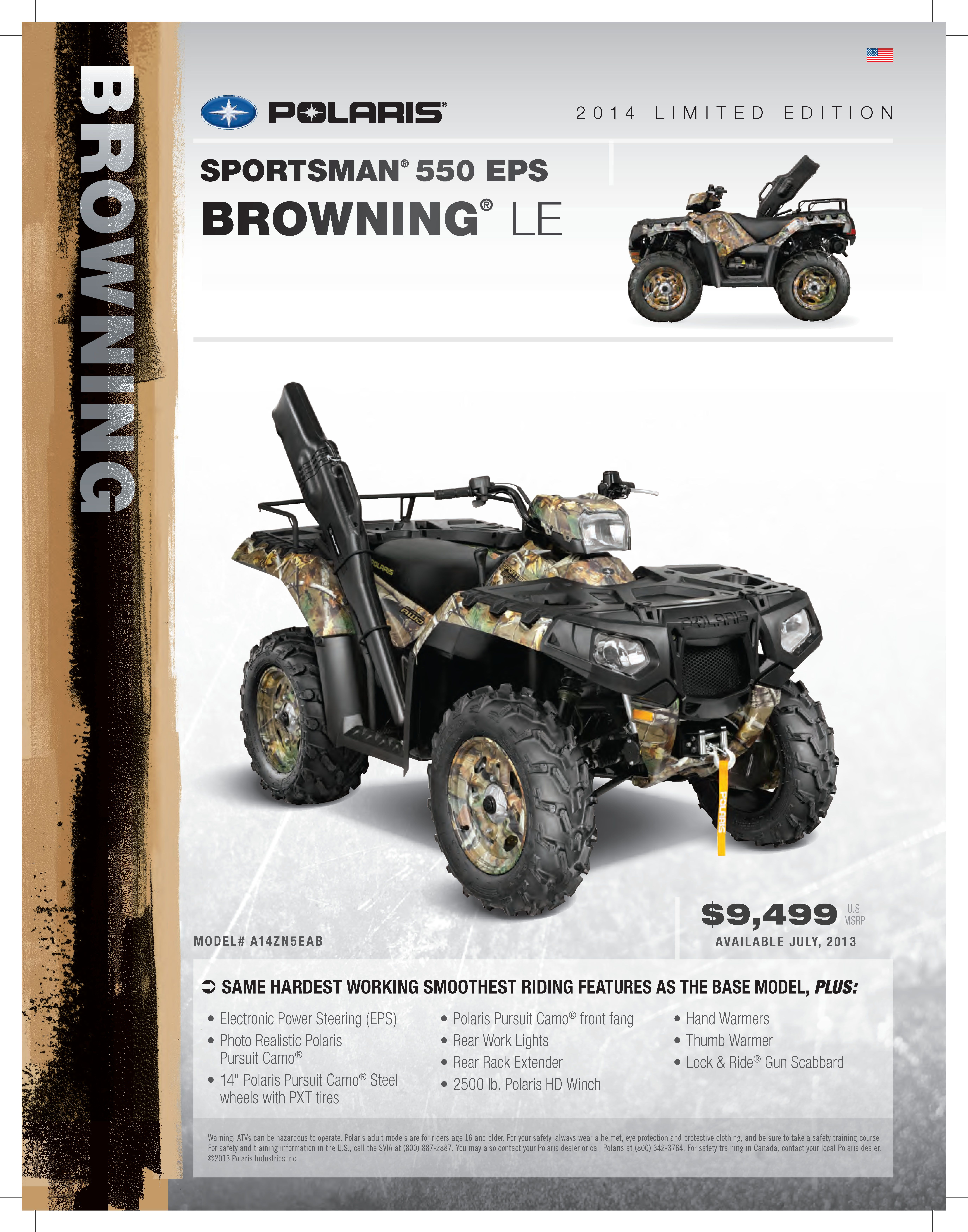 2014 Polaris Sportsman 550 EPS Browning Edition. #WoodsCycleCountry ...