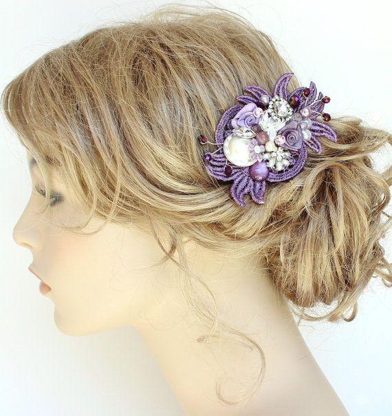 Eggplant Bridal Hair Comb Bridal hairpiece Plum by BrassBoheme