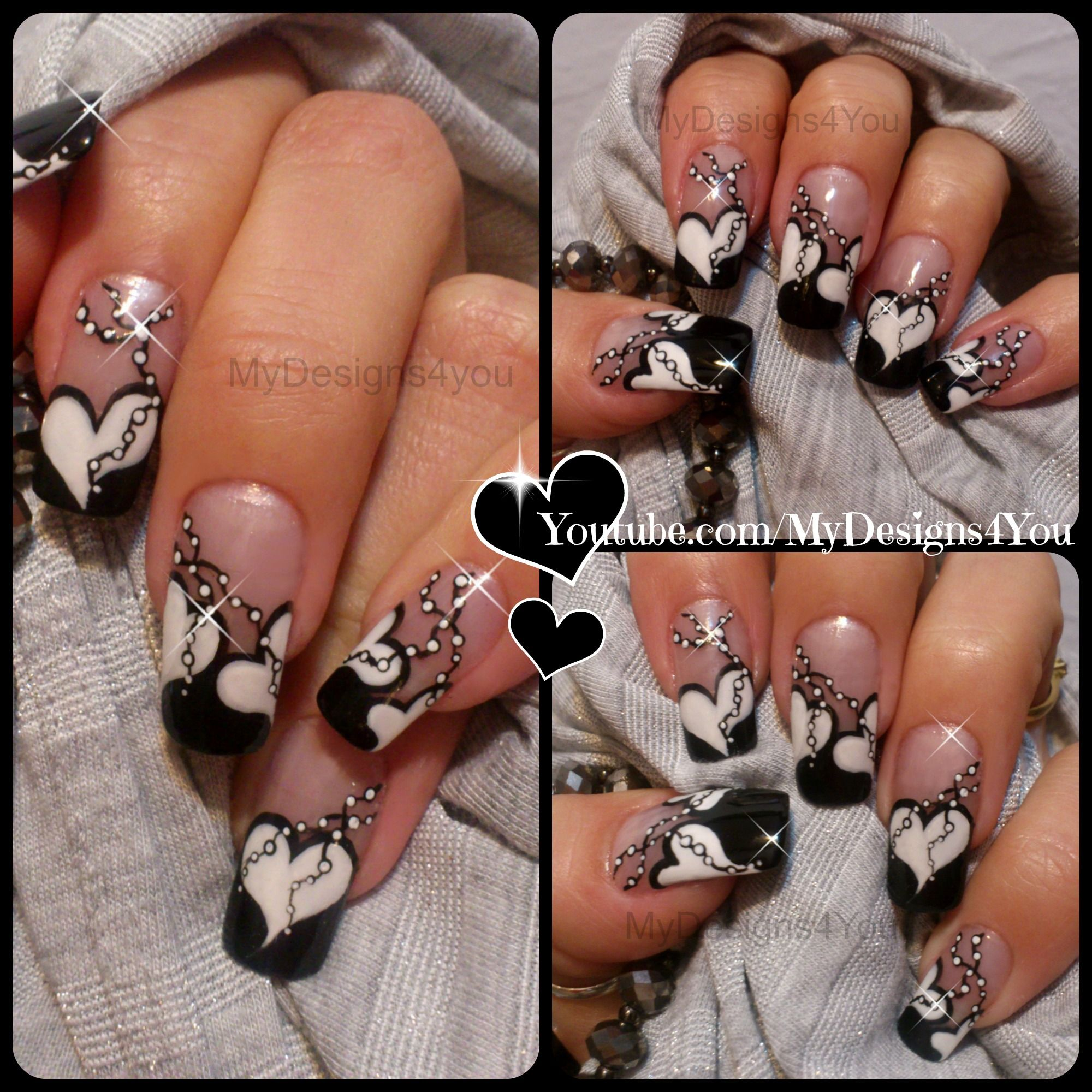 Black And White Valentine S Anti Valentine S Day Nail Art Https