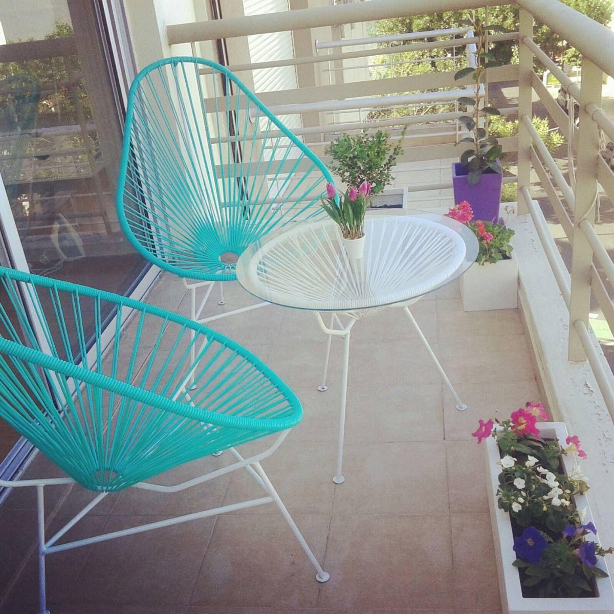 Juego de sillas acapulco dos sillas mesa con vidrio for Sillones para balcon