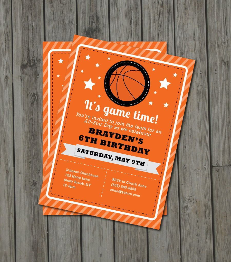 Basketball Birthday Party Invitation - Basketball Invite - Digital ...
