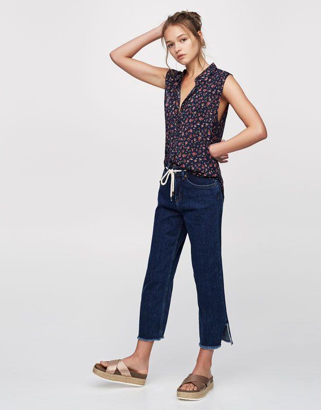 aeb47760dd1a Πουκάμισο με στάμπα - Μπλούζες και πουκάμισα - Ενδύματα - Γυναικεία -  PULL BEAR Ελλάδα