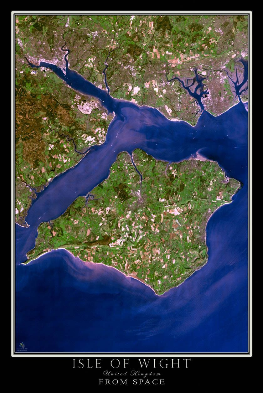 Isle Of Wight Satellite Poster Map  British isles Travel england