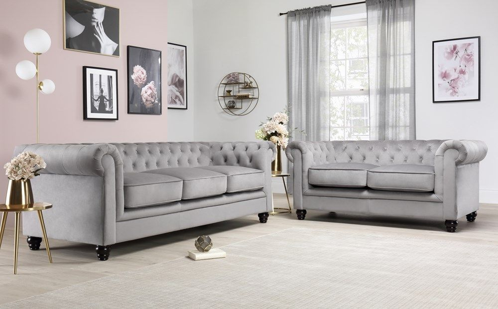 Hampton Grey Velvet 3 2 Seater Chesterfield Sofa Set Furniture Choice Chesterfield Living Room Chesterfield Sofa Living Room Furniture Choice
