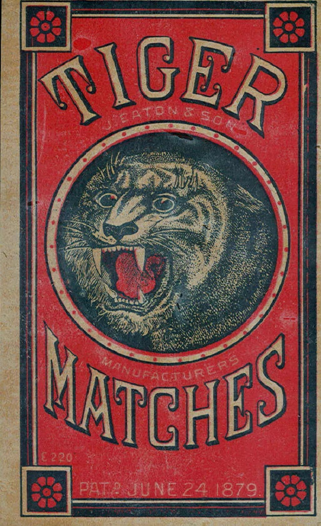 1880's trade card (rare) for Tiger matches. On eBay.