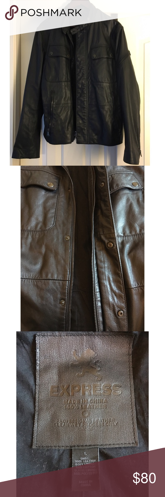 Men's Leather Moto Jacket Genuine leather, black men's Moto jacket. Zips and buttons up with zippers on sleeves. Lots of pockets throughout. No defects, tears or damage of any kind. Pet free, smoke free home. Reasonable offers accepted! Express Jackets & Coats
