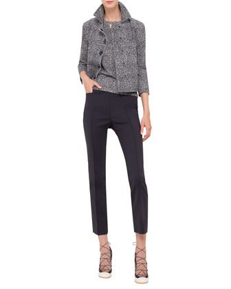 3/4-Sleeve+Snap-Front+Jacket,+Sleeveless+Round-Neck+Top+W/Cutout+&+Franca+Cropped+Techno+Pants+by+Akris+punto+at+Neiman+Marcus.