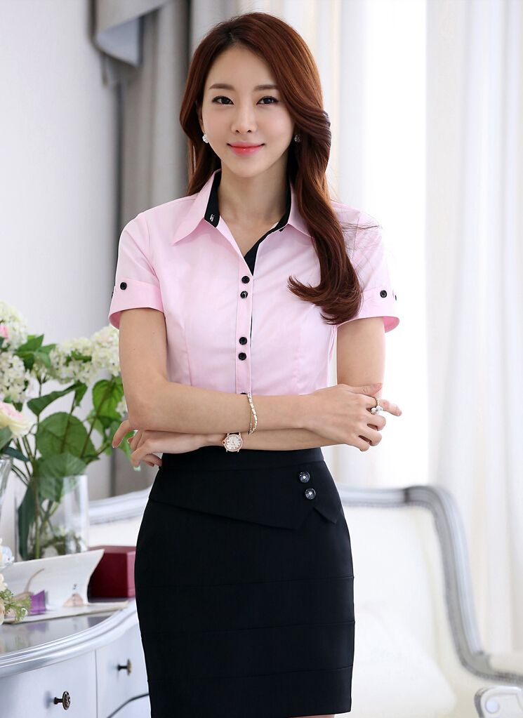 777705e7f Women's #pink short sleeve #shirt simply casual office working OL style,  lapel collar, Button fastenings on the front.