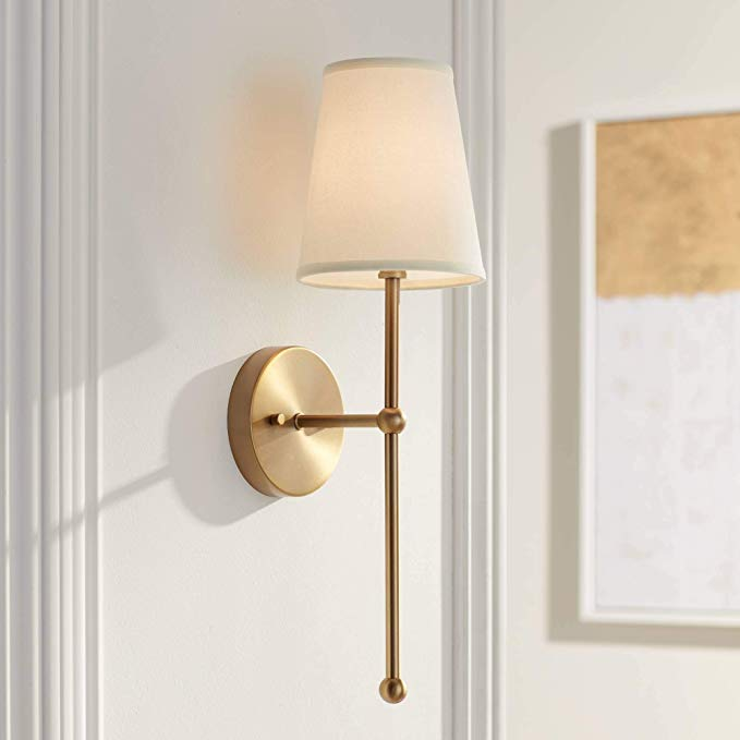 Elena Modern Wall Lamp Warm Brass Hardwired 21 High Fixture Cream Linen Shade For Bedroom Reading In 2020 Brass Wall Sconce Modern Wall Lamp Wall Sconces Living Room