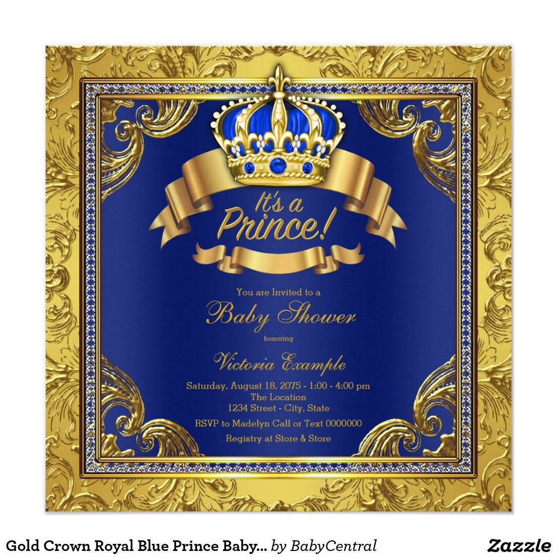 Gold Crown Royal Blue Prince Baby Shower Invitation