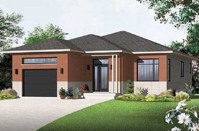 Delightful Contemporary Style House Plans   1225 Square Foot Home , 1 Story, 2 Bedroom  And 1 Bath, 1 Garage Stalls By Monster House Plans   Plan