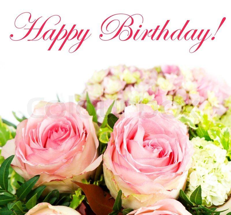 Stock image of 'Beautiful fresh pink roses. birthday card