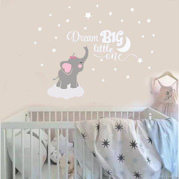 Dream Big Little One Elephant Decal Name Wall Decal Elephant | Etsy