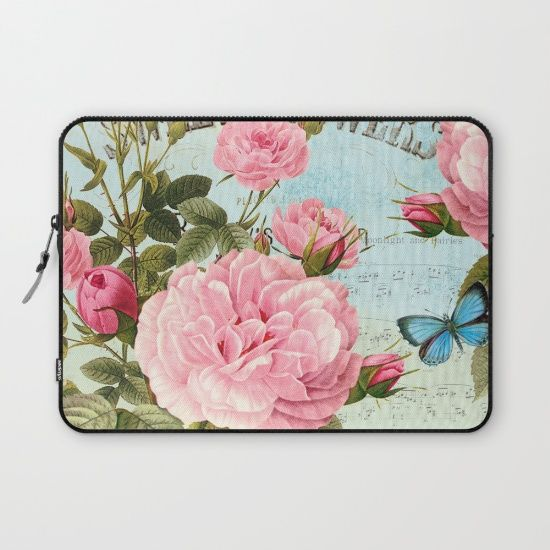 #pink #roses #watercolor #flowers #floral #woman #girly #pretty #shabby #spring #laptopsleeve available in different #homedecor products. Check more at society6.com/julianarw