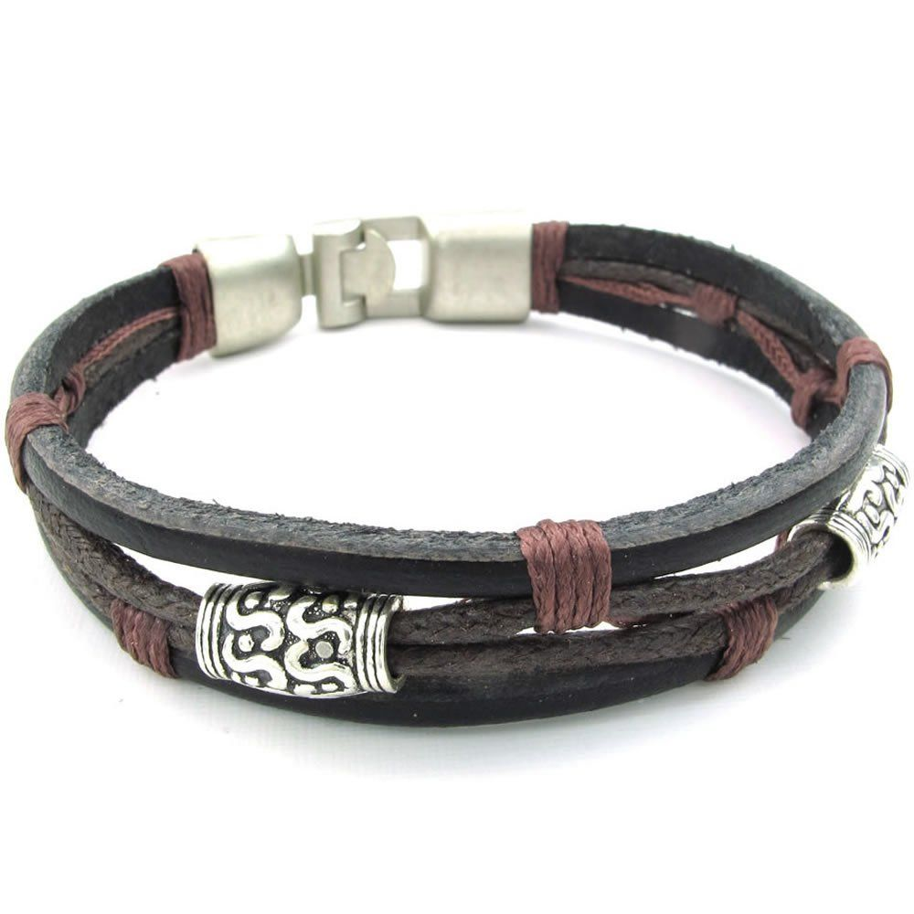 Amazon.com: KONOV Jewelry Mens Womens Leather Rope Bracelet, Tribal Braided Cuff Bangle, Brown Black Silver: Jewelry