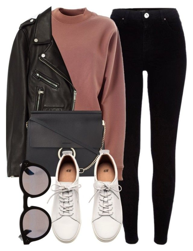 """""""Untitled #6331"""" by laurenmboot ❤ liked on Polyvore featuring River Island, Acne Studios, Jakke, Chloé, H&M and Illesteva"""