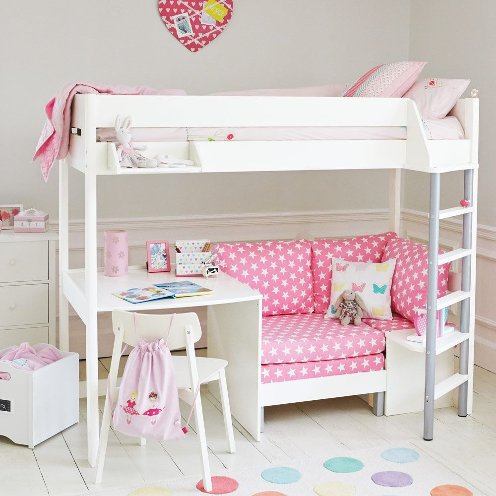 Merlin High Sleeper   White (with Pink Star sofa bed)   Cabin
