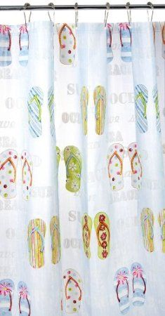 Amazon Blue White Green Red Eco Friendly Beach Flip Flop Peva Bathroom Shower Curtain Bedding Bath