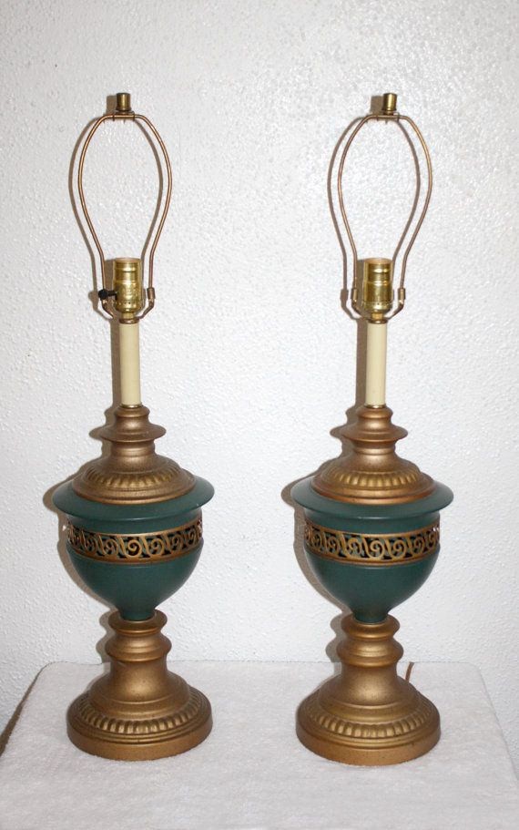 Vintage Pair Enamel & Metal Table Lamps Teal by QUEENIESECLECTIC, $95.00