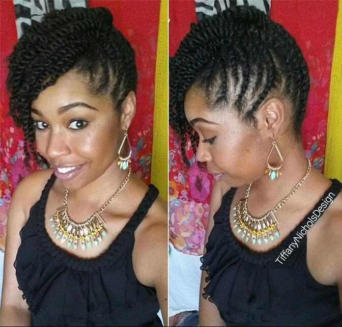 Can Also Untwist On One Side For A One Sided Twist Out Style Hair Styles Natural Hair Twists Twist Hairstyles